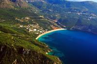 Aerial view on Lichnos beach Parga Greece